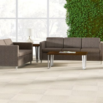 Wieland Rally loveseat, sofa and metal tables in lobby