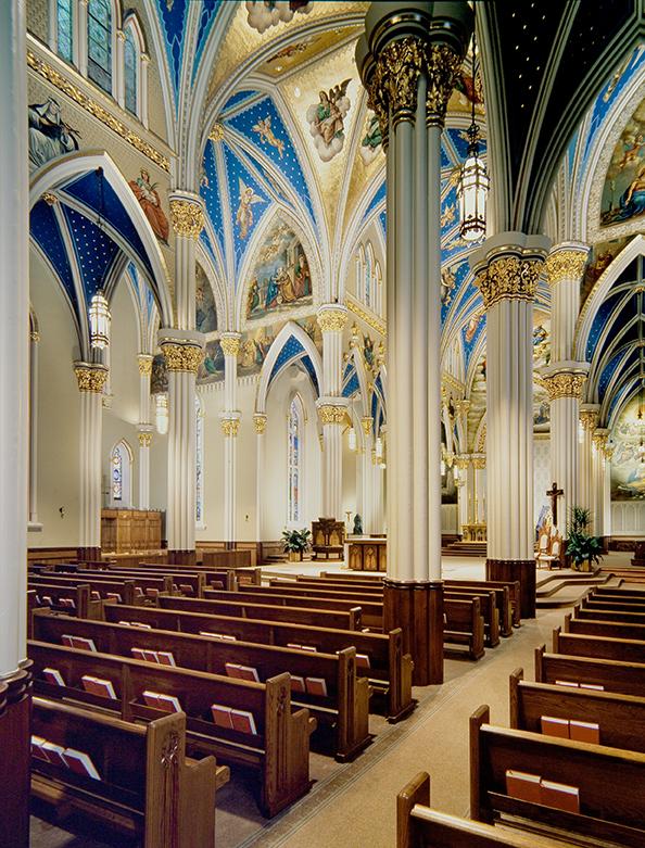 Notre Dame Church pews from Sauder Worship Seating