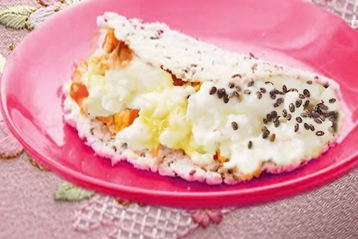Tapioca de Linhaça com Recheio de Ovo Mexido