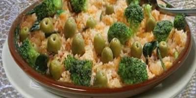 Arroz com Bacalhau e Brócolis