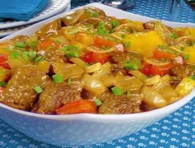 Carne de Panela com Tomates e Aipim