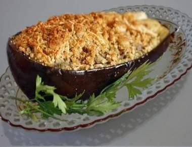 Berinjela Recheada com Carne Moída e Crocante