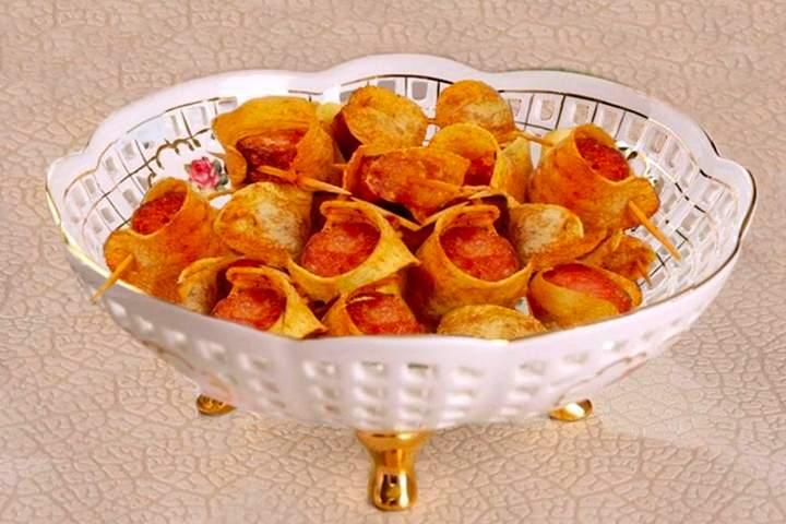 Espetinhos de Batata e Linguiça