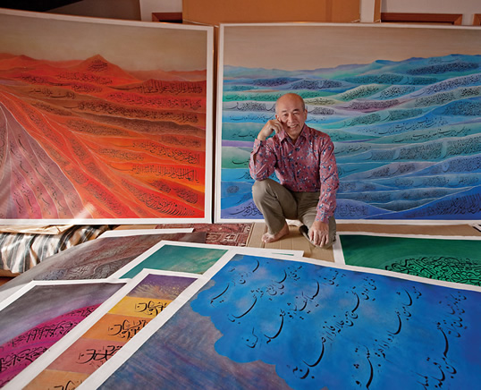 """In his studio, Honda displays some of the large, colorful  calligraphic works that have won him worldwide recognition. In the  1980's, he spent three years leading mineral surveys in the deserts of  Saudi Arabia, and when he returned to Japan, he says, """"The beauty of the  sand dunes and the calligraphy combined together in myself."""""""