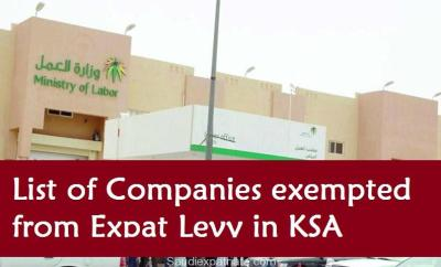 List of Companies exempted from Expat Levy in KSA-SaudiExpatriate.com