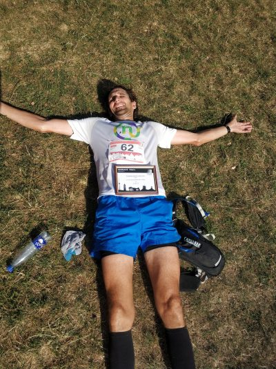 Kernavė-Vilnius trail maratono finišo laimingas veidas