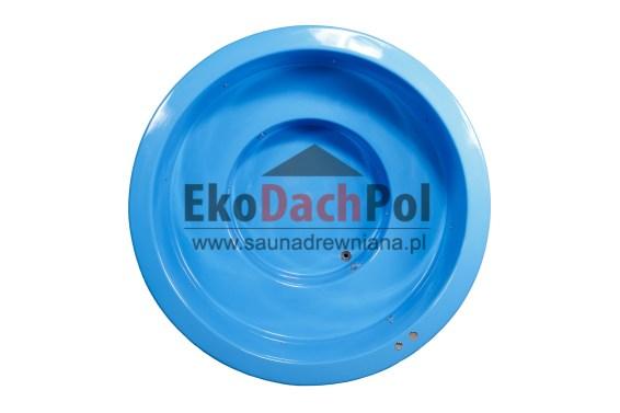 Blue fiberglass hot tub with external heater_1