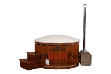 White fiberglass hot tub with external heater_5