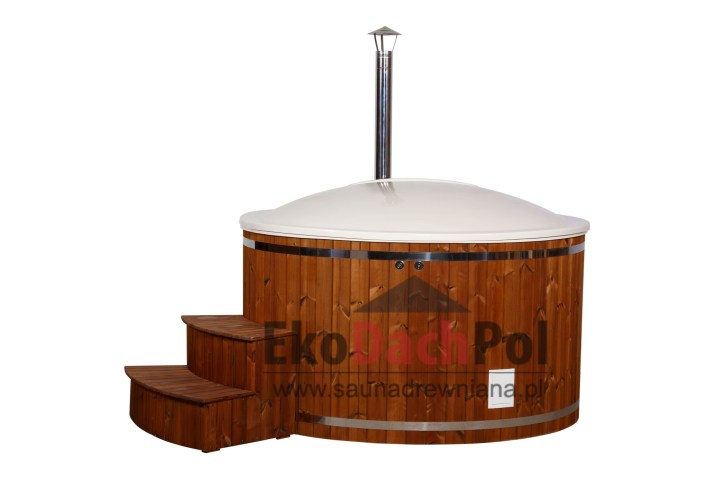 White fiberglass hot tub with internal heater_5