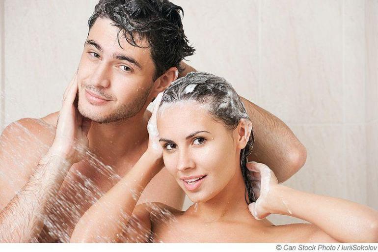 Duschen nach dem Saunaaufguss