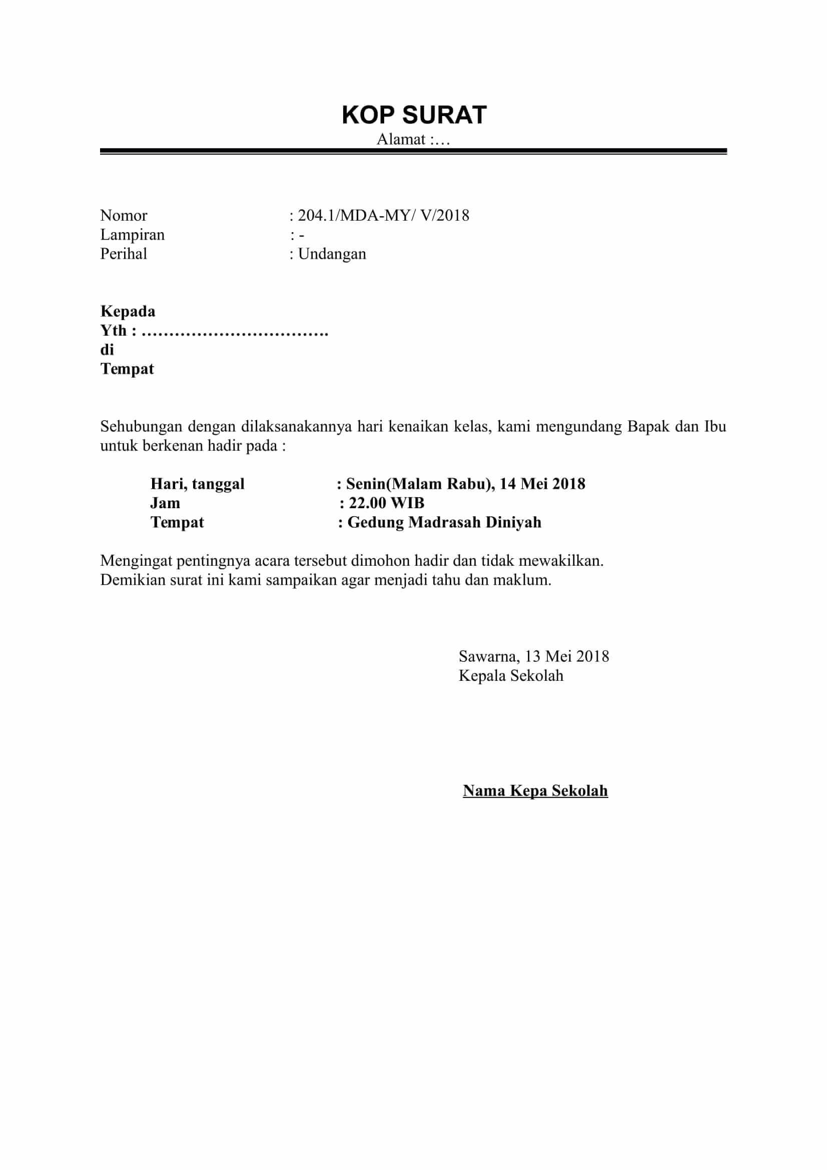 Surat Undangan Orang Tua Singkat