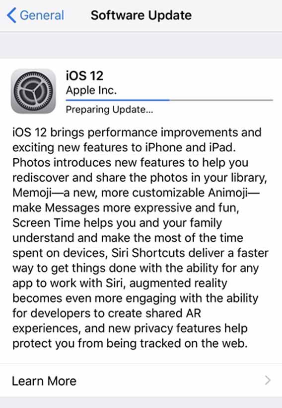 Update iOS 12