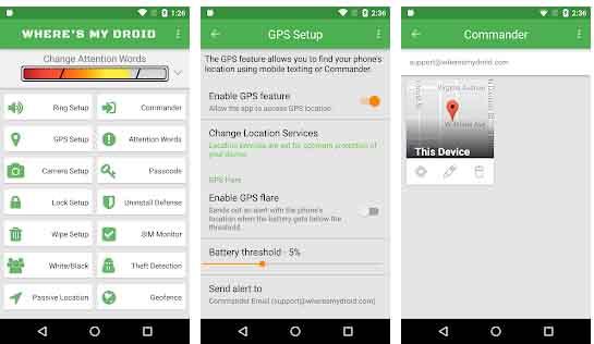 Wheres My Droid merupakan aplikasi pelacak HP dengan GPS
