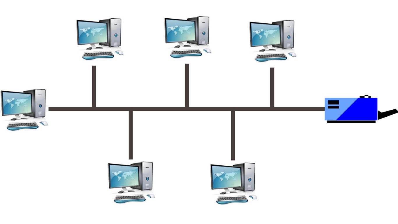 Salah satu contoh jenis topologi bus