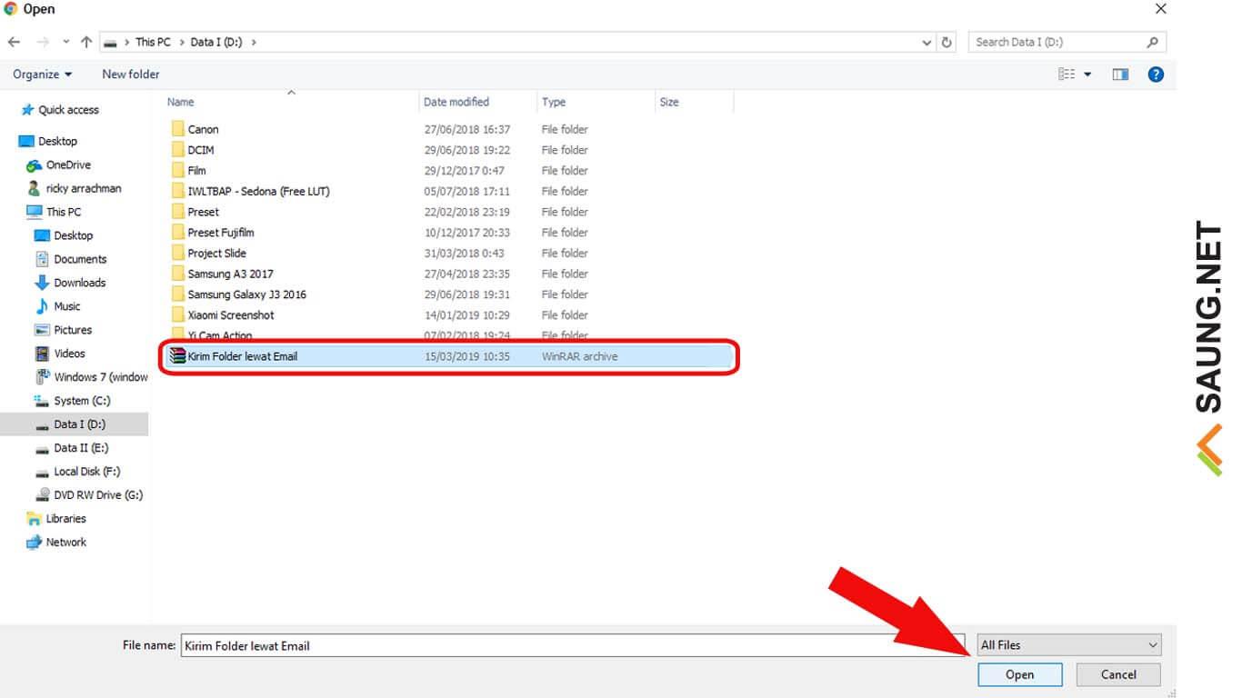 cara mengirim data lewat email dalam bentuk folder