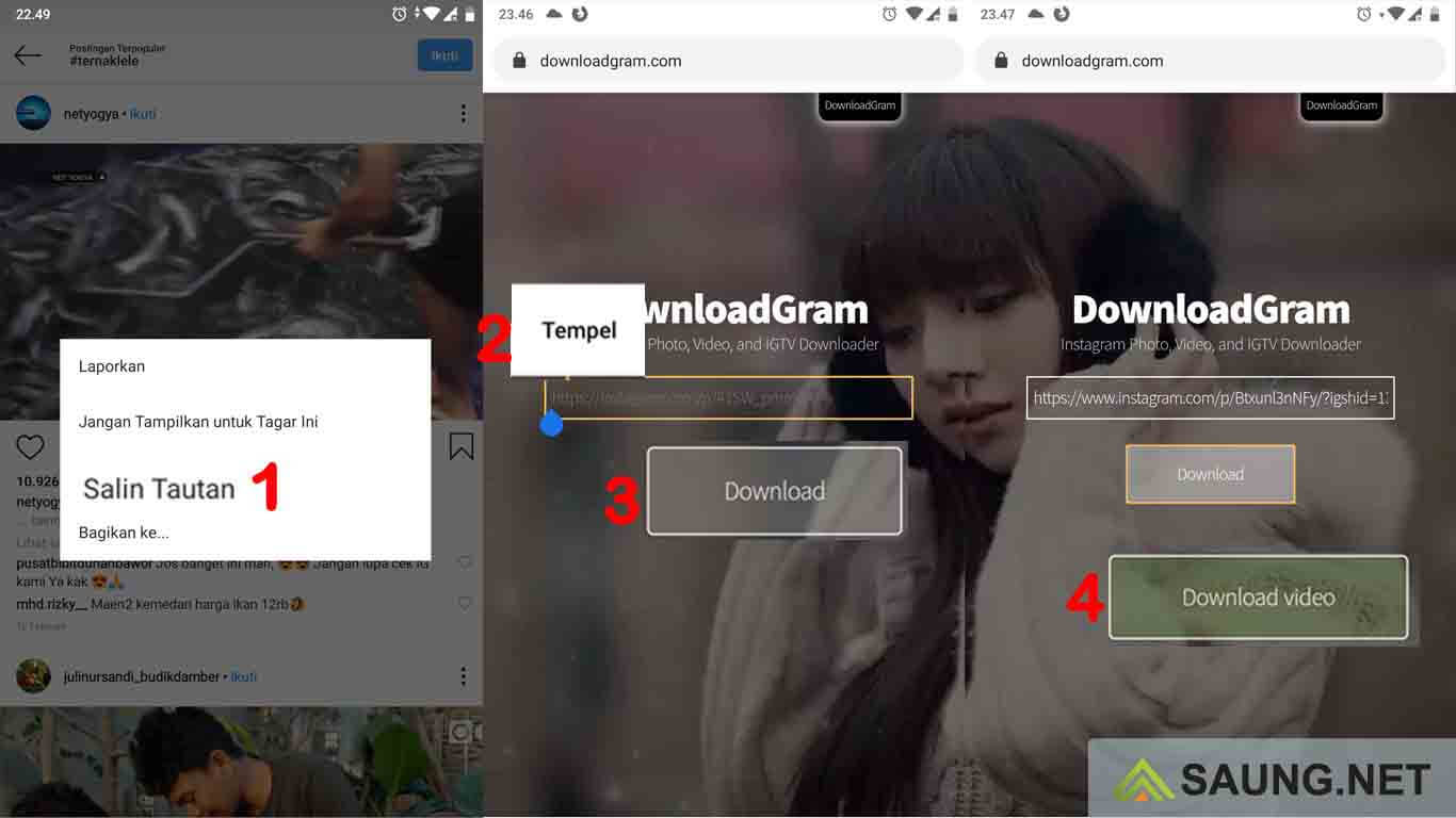 cara download video instagram tanpa apk