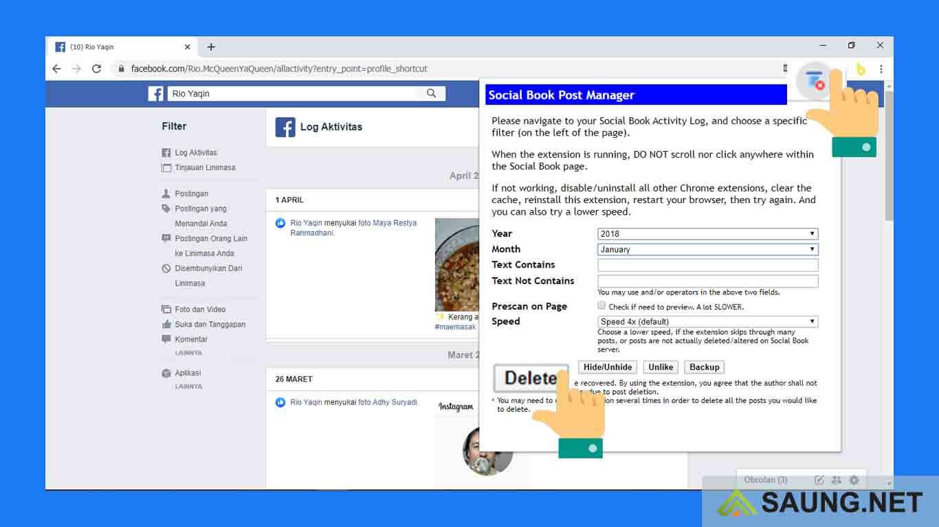 cara menghapus semua postingan di facebook lewat hp