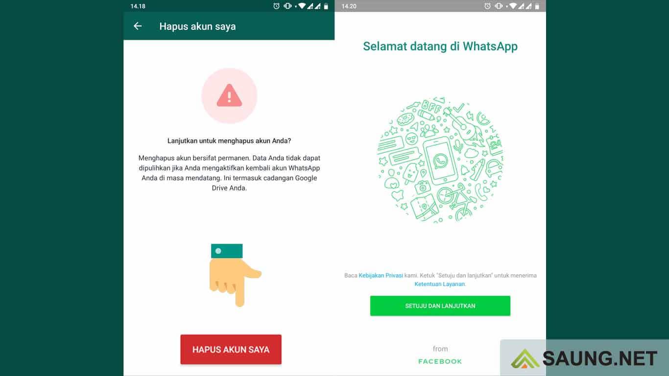 cara hapus akun whatsapp