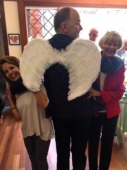 Paul w wings plus Margo and Winnie