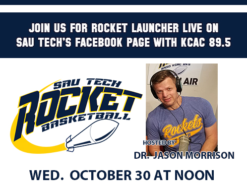 promo for Rocket Launcher Live with photo of a man with headphones