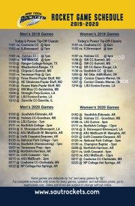 2019-2020 Rocket Basketball Game Schedule