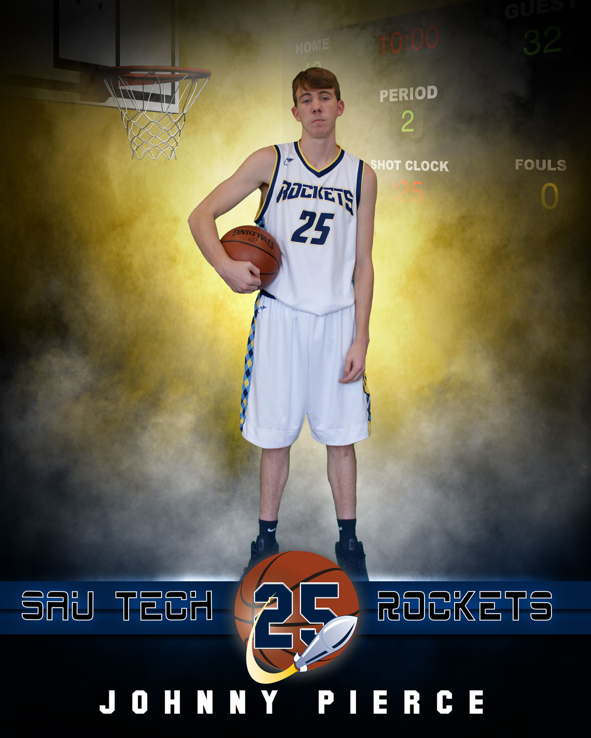 young white male with basketball