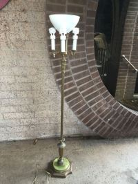 Vintage Candelabra Torchiere Floor Lamp With Green Marble Base
