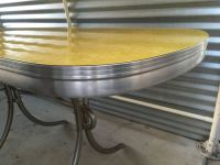 Vintage 1950s Kitchen Dinette Table Yellow Formica Chrome