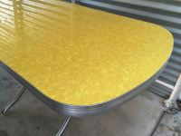 Vintage 1950s Kitchen Dinette Table Yellow Formica Chrome ...