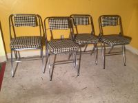 Mid-Century Modern Chrome Houndstooth Folding Chairs
