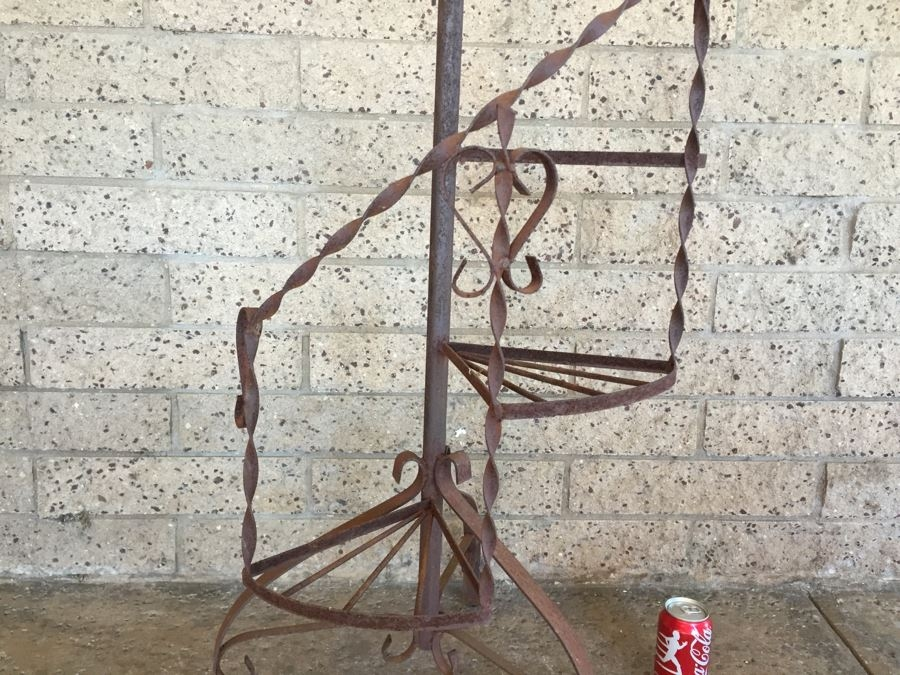 Vintage Wrought Iron Spiral Staircase Garden Plant Stand | Wrought Iron Spiral Staircase | Old | Plant Stand | Stair Case | Transitional | Narrow