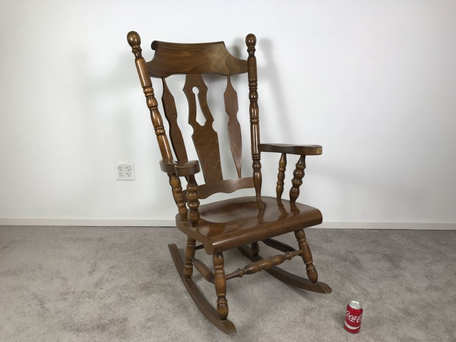 Oversized Wooden Rocking Chair From Yugoslavia