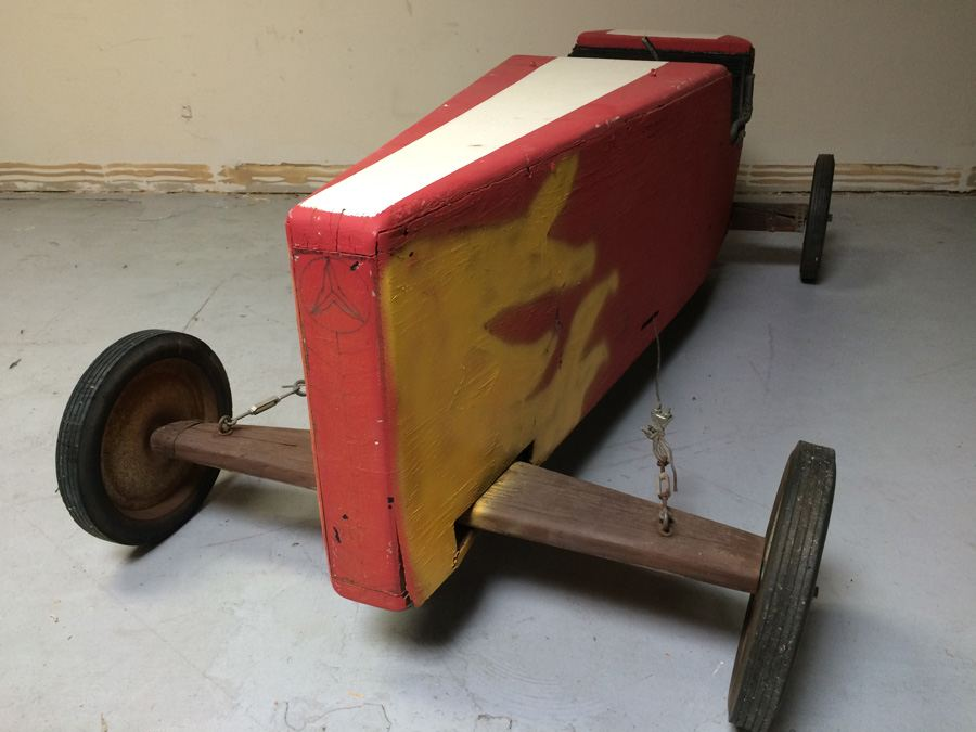 Wooden Soap Box Derby Car with Vintage CA License Plate