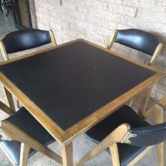 Coronet Folding Chairs Black Leather Slipper Chair Mid-century Modern Wonderfold Card Table With Four Excellent Condition