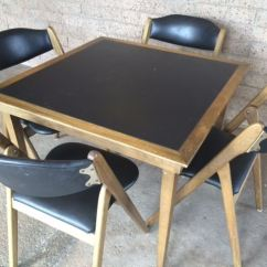 Coronet Folding Chairs Tall Camping Mid Century Modern Wonderfold Card Table With Four Excellent Condition Photo