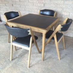 Coronet Folding Chairs Queen Anne Style Chair Mid-century Modern Wonderfold Card Table With Four Excellent Condition