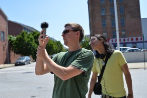 Students capturing media in Baltimore for their Networked Anthropology