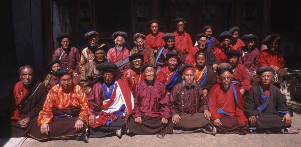 A group of senior dreadlock-wearing ngakpa from Sakor village, Repkong in Eastern Tibet .