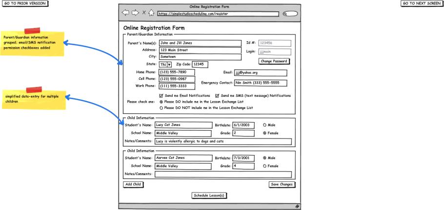 online application form, final