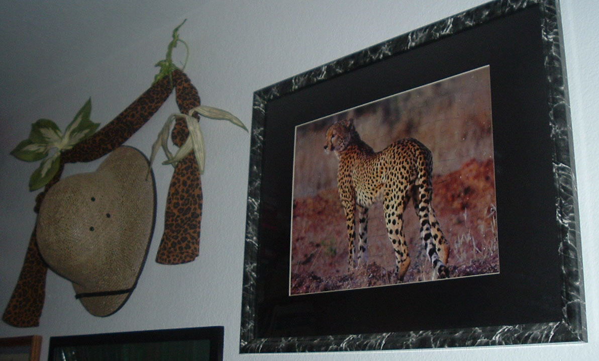 The cheetah puzzle hangs on the study wall next to a safari hat and leopard-print scarf.