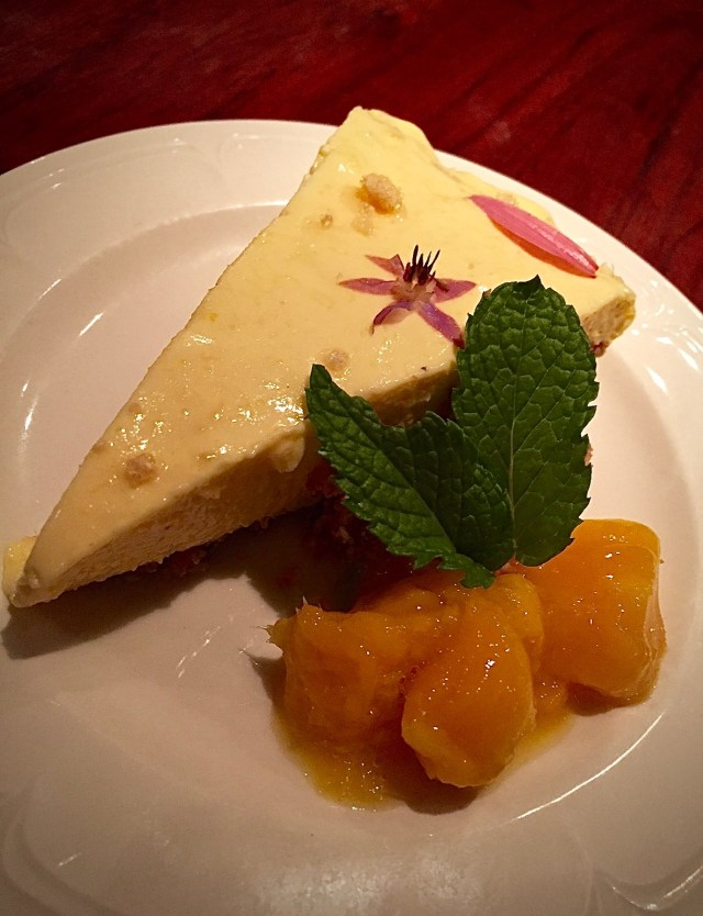 Gluten-free Mango Cheesecake, garnished and presented by Vanessa & Honour. Photo credit: Vanessa Parker.