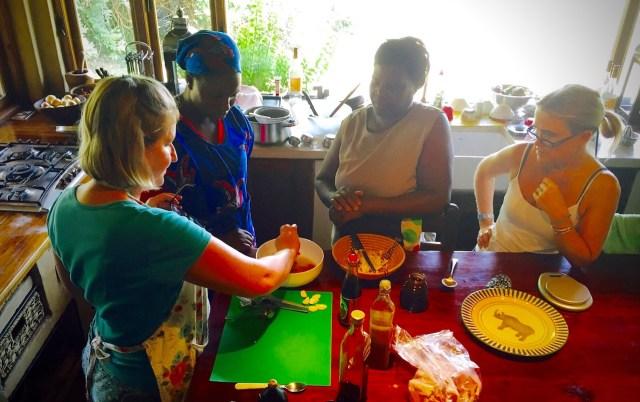 Demonstrating how to make ginger-sesame marinade for the pork loin. Photo credit: Honour Schram de Jong.