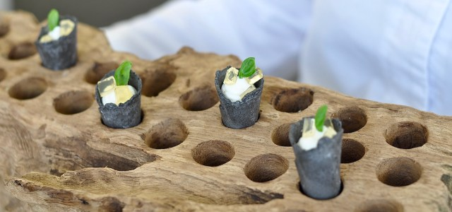 Burrata & Creamed Goat's Cheese in a Charcoal Cone served with Basil & Honey Jelly.
