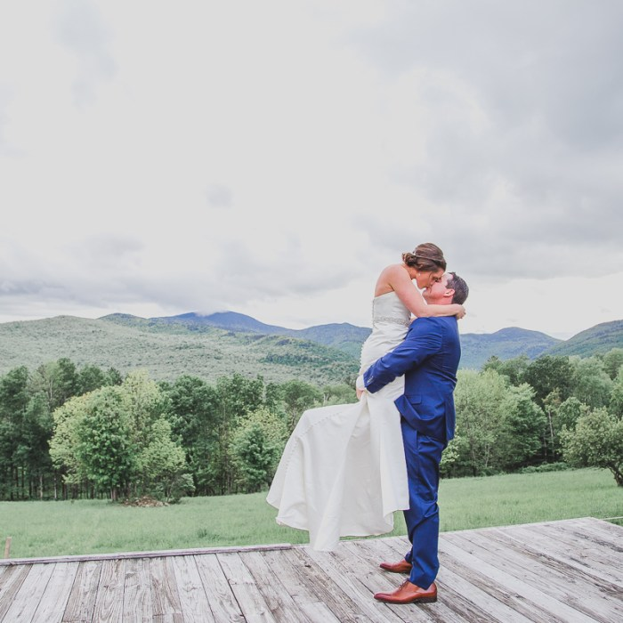 Bride and groom at Trapp Family Lodge in Stowe, Vermont