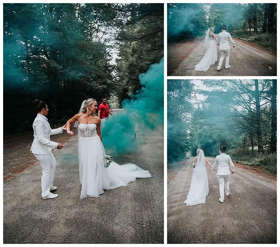 Smoke bomb wedding photography in Stowe, Vermont
