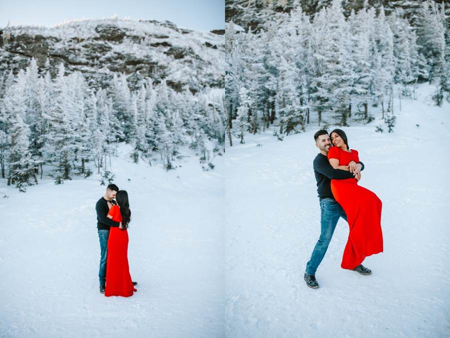 Stowe Vermont winter engagement session