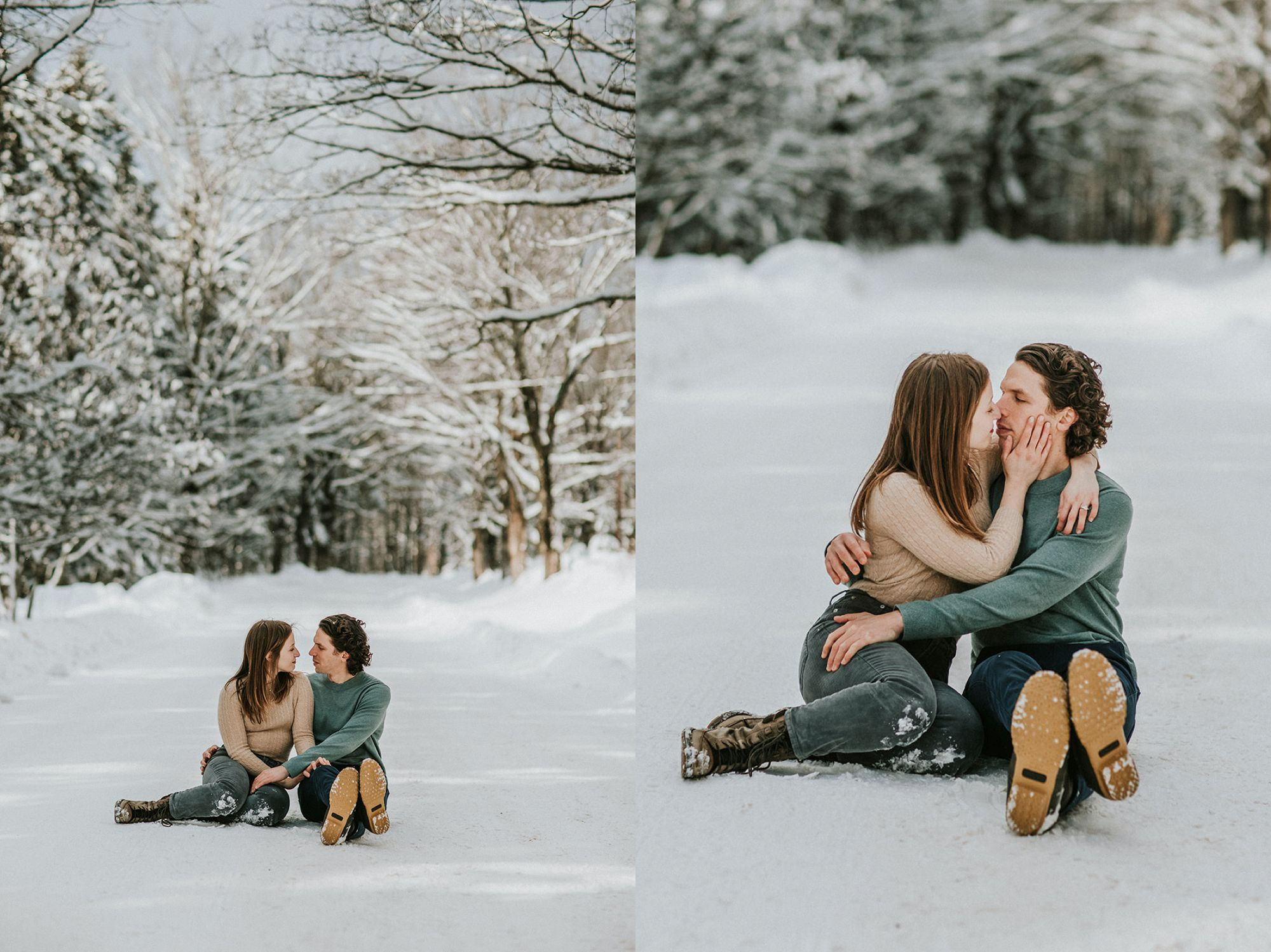 Edson Hill Engagement Road Snow Portraits