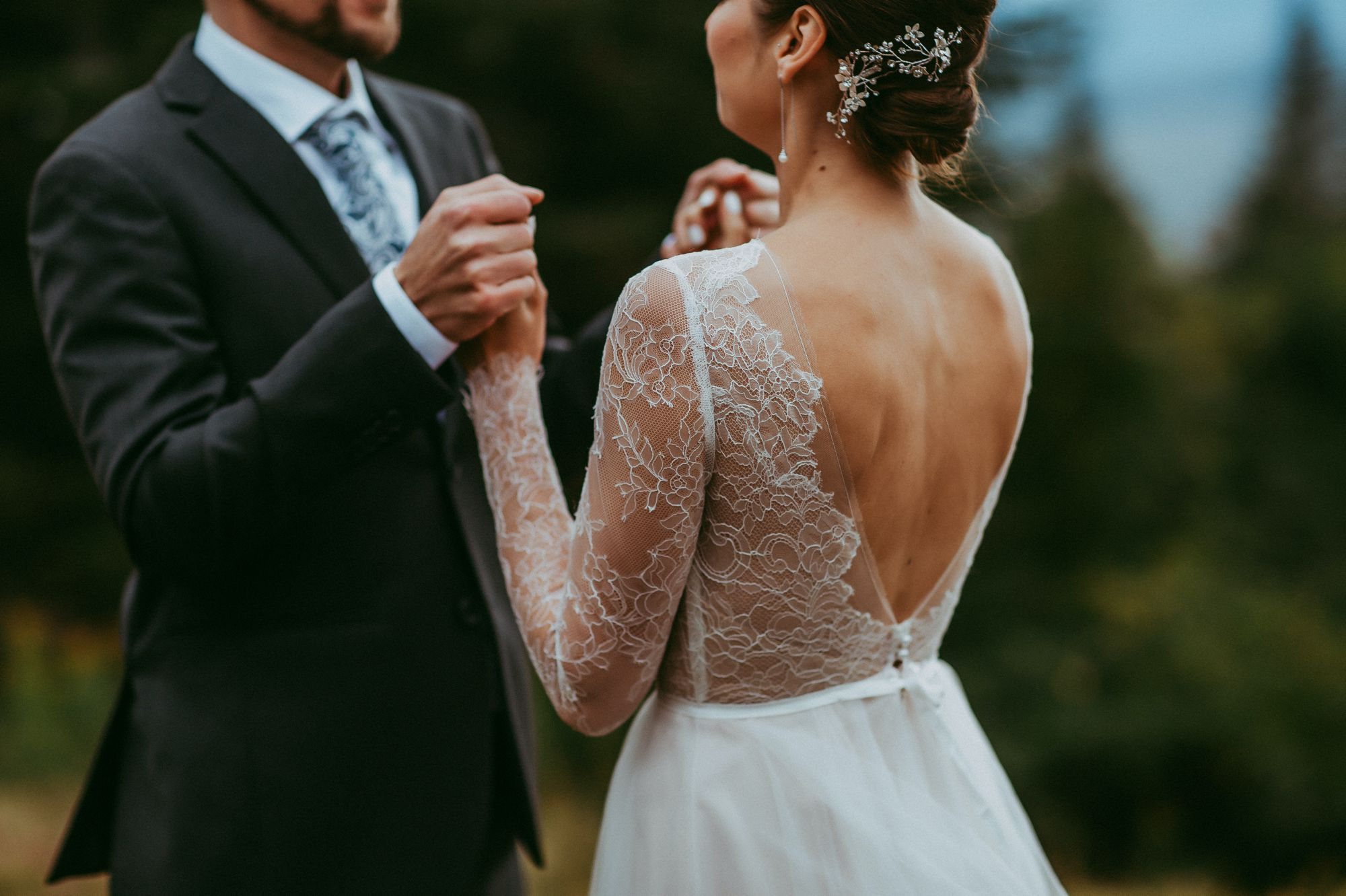 Mt Mansfield Wedding Bride and Groom Hand Holding