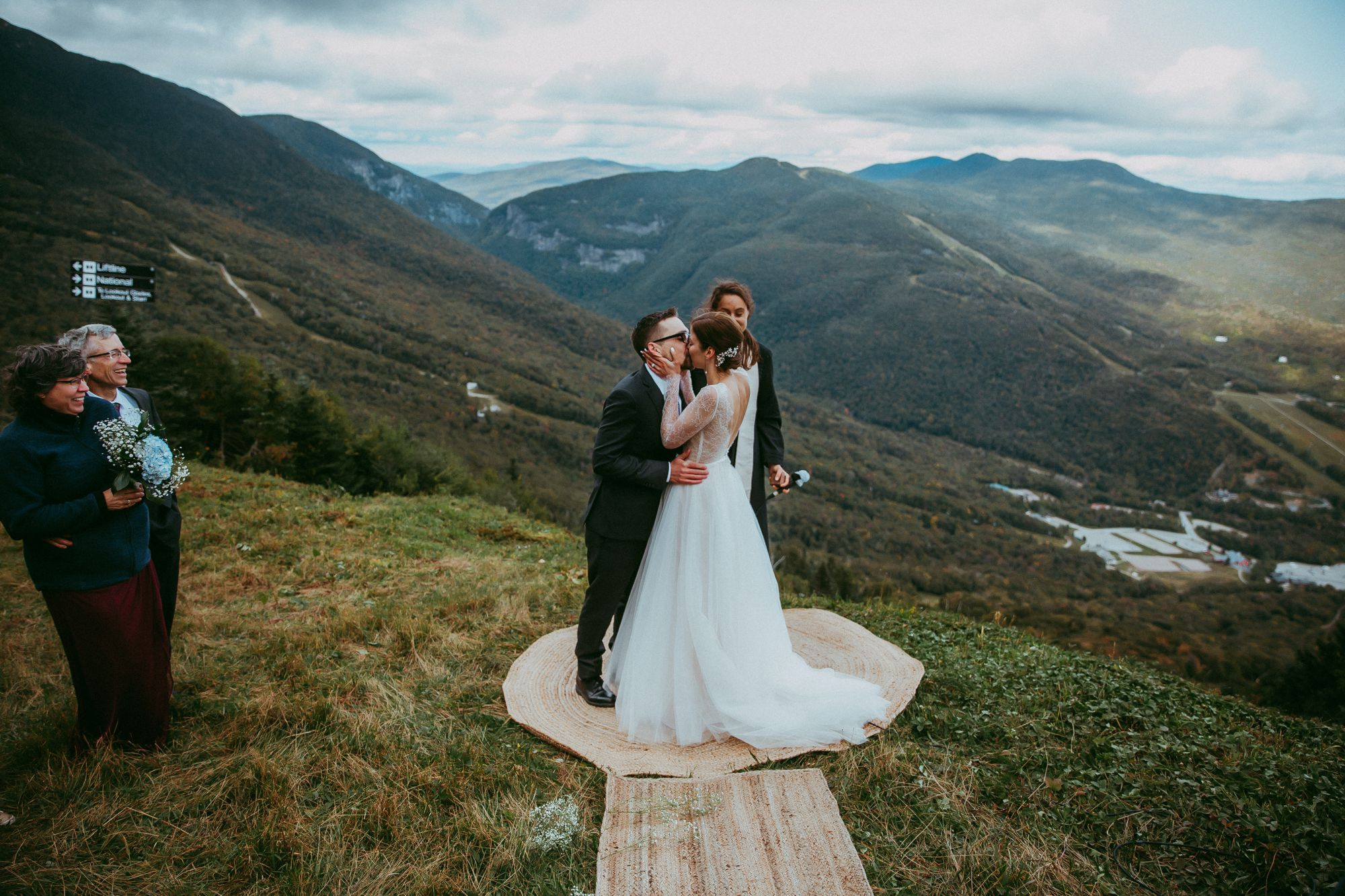Mt Mansfield Ceremony Wedding Outdoors Kiss
