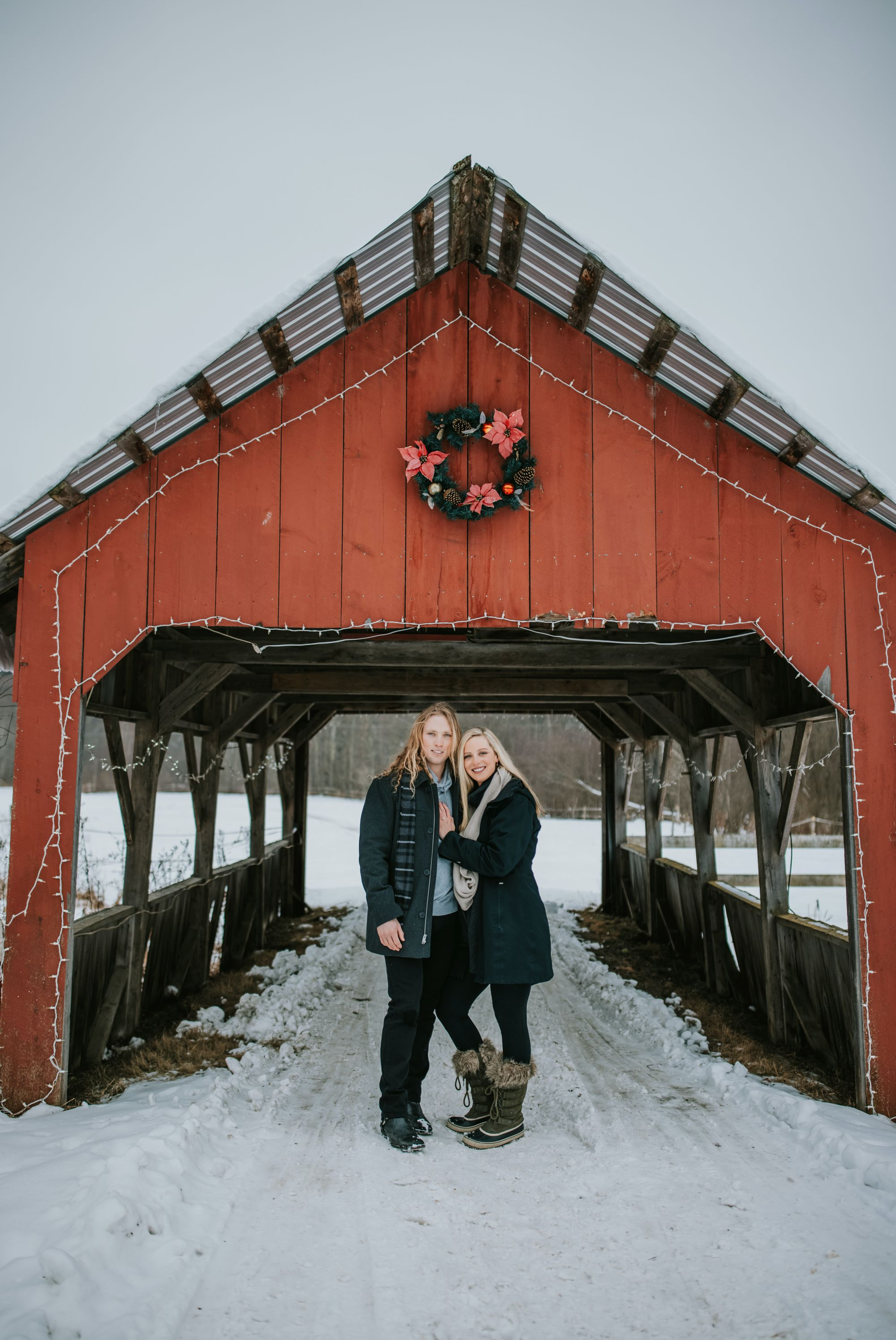 Sleigh Ride Newly Engaged Couple